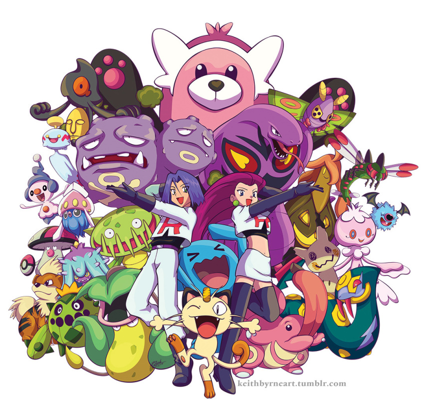 1boy 1girl :d arbok bewear black_footwear black_gloves blue_hair cacnea carnivine cat chimecho creature dustox fangs floating flying frillish frillish_(female) gen_1_pokemon gen_2_pokemon gen_3_pokemon gen_4_pokemon gen_5_pokemon gen_6_pokemon gen_7_pokemon gloves gourgeist growlithe happy inkay keith_byrne kojirou_(pokemon) lickitung long_hair looking_at_viewer mareanie meowth midriff mime_jr. mimikyu musashi_(pokemon) navel open_mouth pokemon pokemon_(creature) pose purple_hair seviper simple_background skirt smile team_rocket team_rocket_uniform tongue tongue_out tumblr_username uniform victreebel watermark web_address weezing white_background white_skirt wobbuffet woobat yamask yanmega