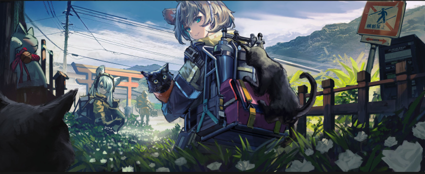 2girls animal_ears backpack bag birdhouse blue_eyes canister cat clouds cloudy_sky day directional_arrow doren fence flower gas_tank gloves grass grin headset highres holding holding_cat jacket looking_back maneki-neko mole mole_under_eye mountain multiple_cats multiple_girls original outdoors road_sign scenery short_hair sign silver_hair sky smile telephone_pole toolbox torii yellow_jacket