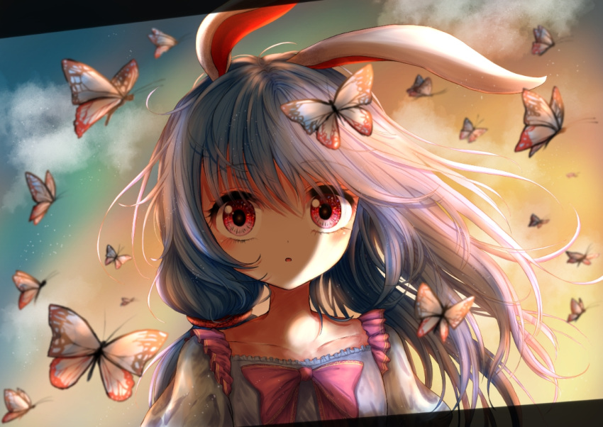 1girl :o alternate_hairstyle animal_ears blue_dress blue_hair bow bowtie bug butterfly butterfly_on_head clouds commentary dress dutch_angle eyebrows_visible_through_hair gradient_sky hair_between_eyes hair_blowing insect kayon_(touzoku) letterboxed long_hair looking_at_viewer outdoors pink_neckwear rabbit_ears red_eyes seiran_(touhou) side_ponytail sky solo touhou twilight upper_body