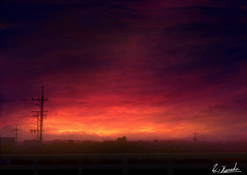 alu.m_(alpcmas) blurry building city city_lights clouds cloudy_sky commentary dark depth_of_field hill horizon no_humans original power_lines scenery signature sky sunset telephone_pole