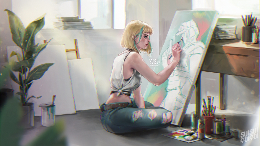 1girl absurdres artist_name blonde_hair bob_cut camisole casual commentary day denim drawing ela_(rainbow_six_siege) english_commentary english_text green_hair highres indian_style indoors jeans korean_text lips making-of_available midriff multicolored_hair nose pants portrait_(object) rainbow_six_siege short_hair side-tie_shirt sitting sleeveless solo streaked_hair studio suisui_again torn_clothes torn_jeans torn_pants