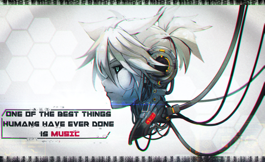 1boy absurdres android black_sclera cable commentary disembodied_head ei_flow english_commentary english_text expressionless from_side green_eyes half-closed_eyes head hexagon highres kagamine_len male_focus robot solo spiky_hair vocaloid white_hair white_skin