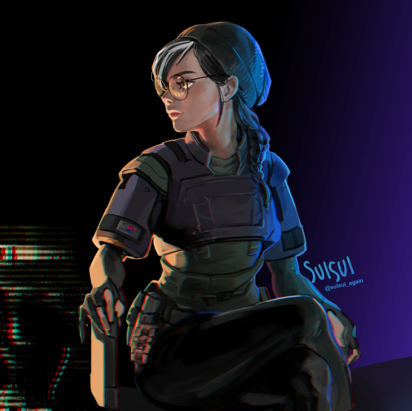 1girl beanie black_hair breastplate breasts commentary crossed_legs dokkaebi_(rainbow_six_siege) english_commentary glasses gloves hair_over_shoulder hat highres lips looking_to_the_side medium_hair military_operator nose pants partly_fingerless_gloves rainbow_six_siege round_eyewear shoulder_pads sitting small_breasts solo south_korean_flag suisui_again tablet_pc