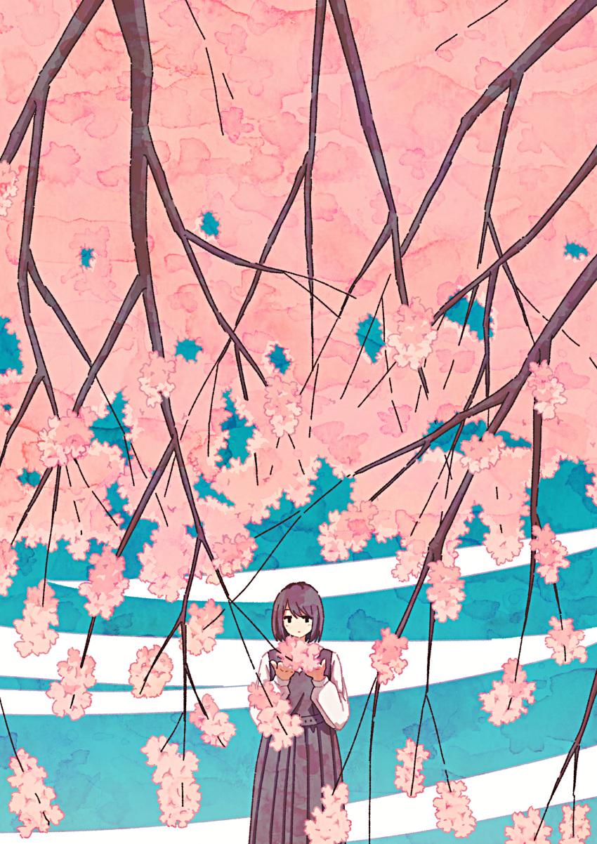 1girl bangs brown_hair brown_skirt brown_vest cherry_blossoms cowboy_shot expressionless highres izuminoizm long_skirt long_sleeves medium_hair no_nose original pleated_skirt seasons shirt skirt solo spring_(season) vest white_shirt