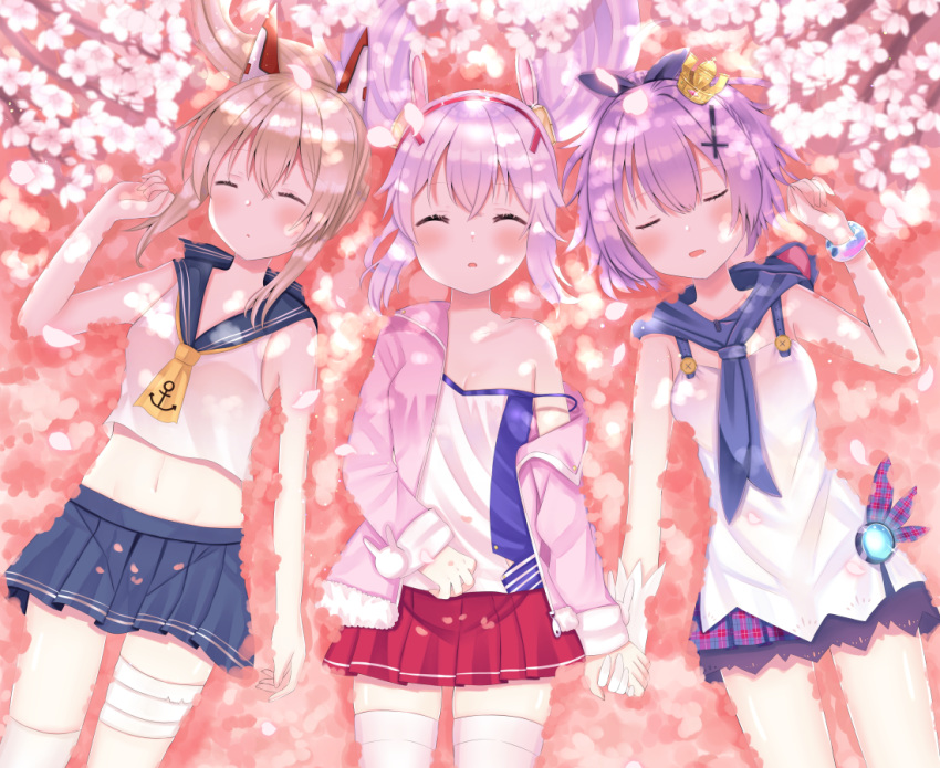 3girls anchor_symbol animal_ears ayanami_(azur_lane) azur_lane bandaged_leg bandages blue_neckwear blue_sailor_collar blue_skirt bracelet camisole cherry_blossoms commentary_request cowboy_shot cravat cross cross_hair_ornament crown_hair_ornament dappled_sunlight day dress fake_animal_ears from_above gloves hair_ornament hair_ribbon hair_spread_out hairband hand_on_own_stomach headgear holding_hands inverted_cross jacket javelin_(azur_lane) jewelry laffey_(azur_lane) lavender_hair light_brown_hair lying midriff miniskirt multiple_girls navel neckerchief nibosisuzu off-shoulder_jacket on_back on_ground open_clothes open_jacket outdoors parted_lips pink_jacket plaid plaid_skirt pleated_skirt ponytail purple_hair red_skirt ribbon sailor_collar school_uniform serafuku shirt skirt sleeping sleeveless sleeveless_dress sleeveless_shirt strap_slip sunlight thigh-highs tree_branch twintails white_camisole white_gloves white_legwear yellow_neckwear