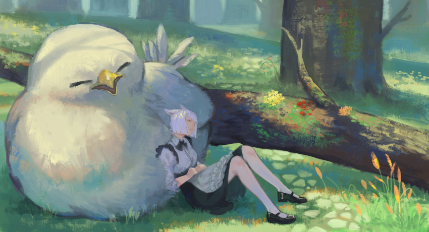 1girl absurdres animal_ears black_footwear black_neckwear bow cat_ears chocobo closed_eyes final_fantasy final_fantasy_xiv flower forest frills fungus grass highres jun_(5455454541) maid moss nature outdoors parted_lips short_hair sleeping tree white_hair yellow_flower