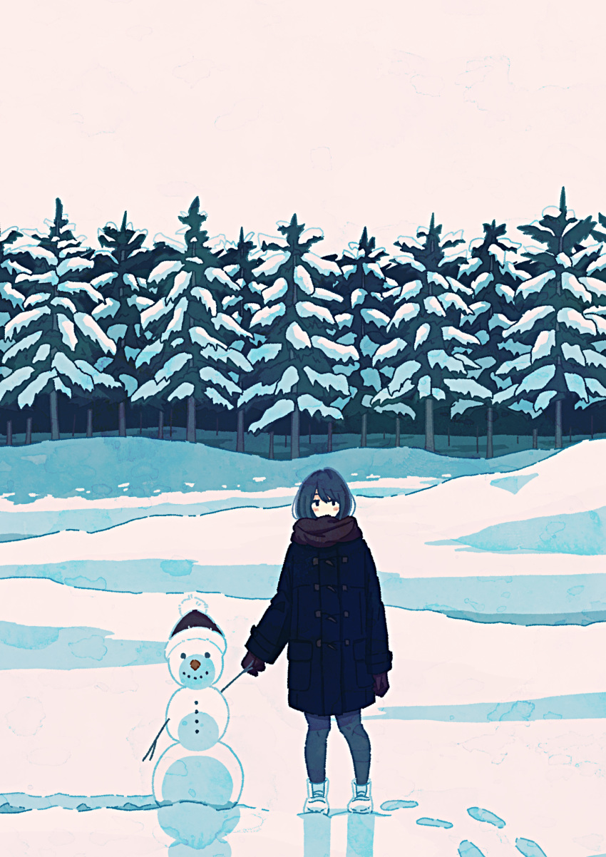 1girl black_coat black_gloves black_hair blush coat footprints fur_trim gloves hat highres izuminoizm looking_at_viewer original outdoors scarf shoes smile snow snowman solo tree white_footwear white_sky wide_shot winter winter_clothes winter_coat