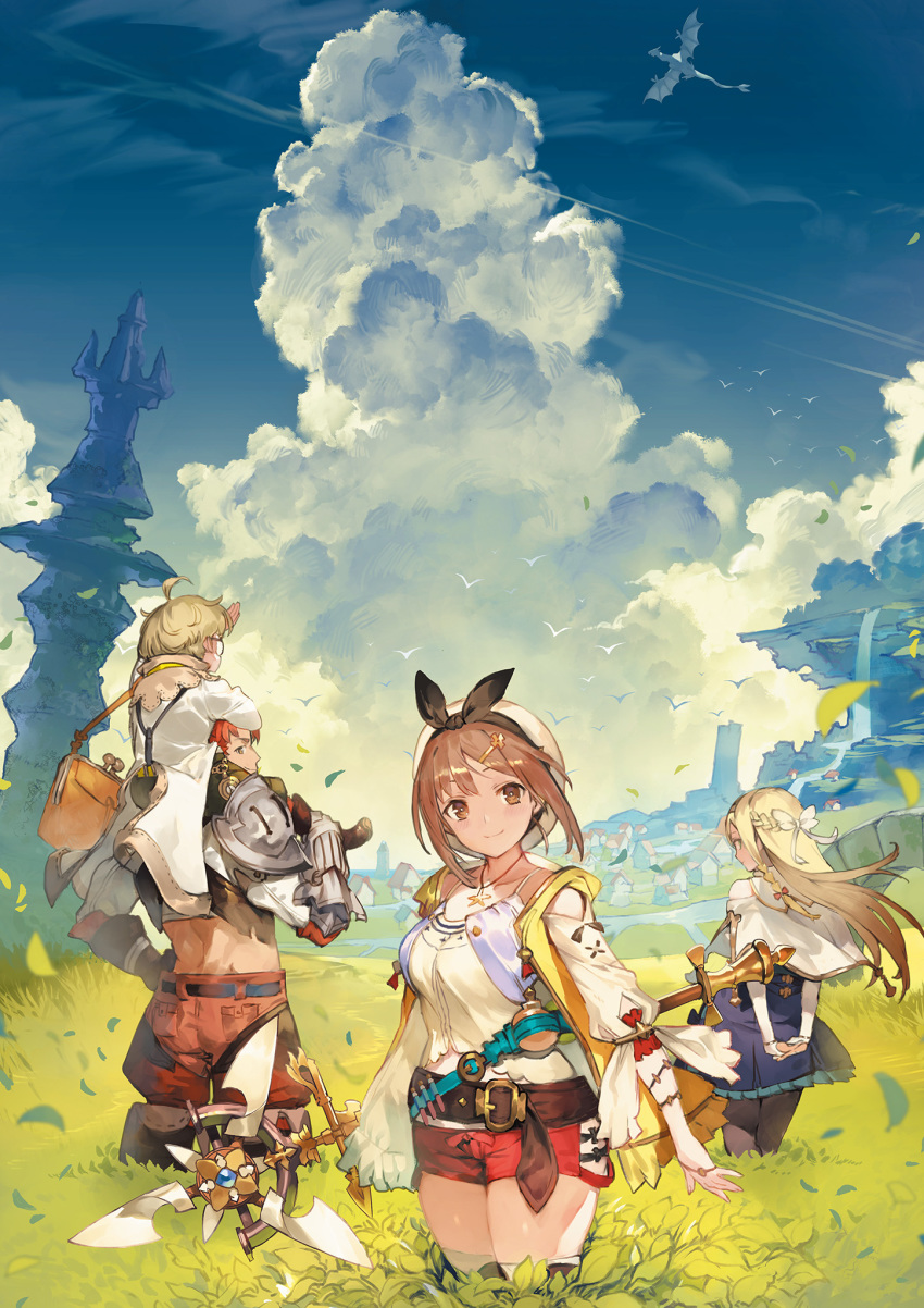 2boys 2girls atelier_(series) atelier_ryza blonde_hair braid brown_eyes brown_hair carrying clouds coat dragon from_behind glasses hair_ornament hair_ribbon hairclip half_updo hat highres hooded_vest jewelry key_visual klaudia_valentz lent_marslink long_hair looking_at_viewer looking_back midriff multiple_boys multiple_girls necklace official_art pantyhose red_shorts redhead reisalin_stout ribbon round-bottom_flask short_hair short_shorts shorts shoulder_armor shoulder_carry skindentation staff suspenders tao_mongarten thigh-highs thighs toridamono wyvern