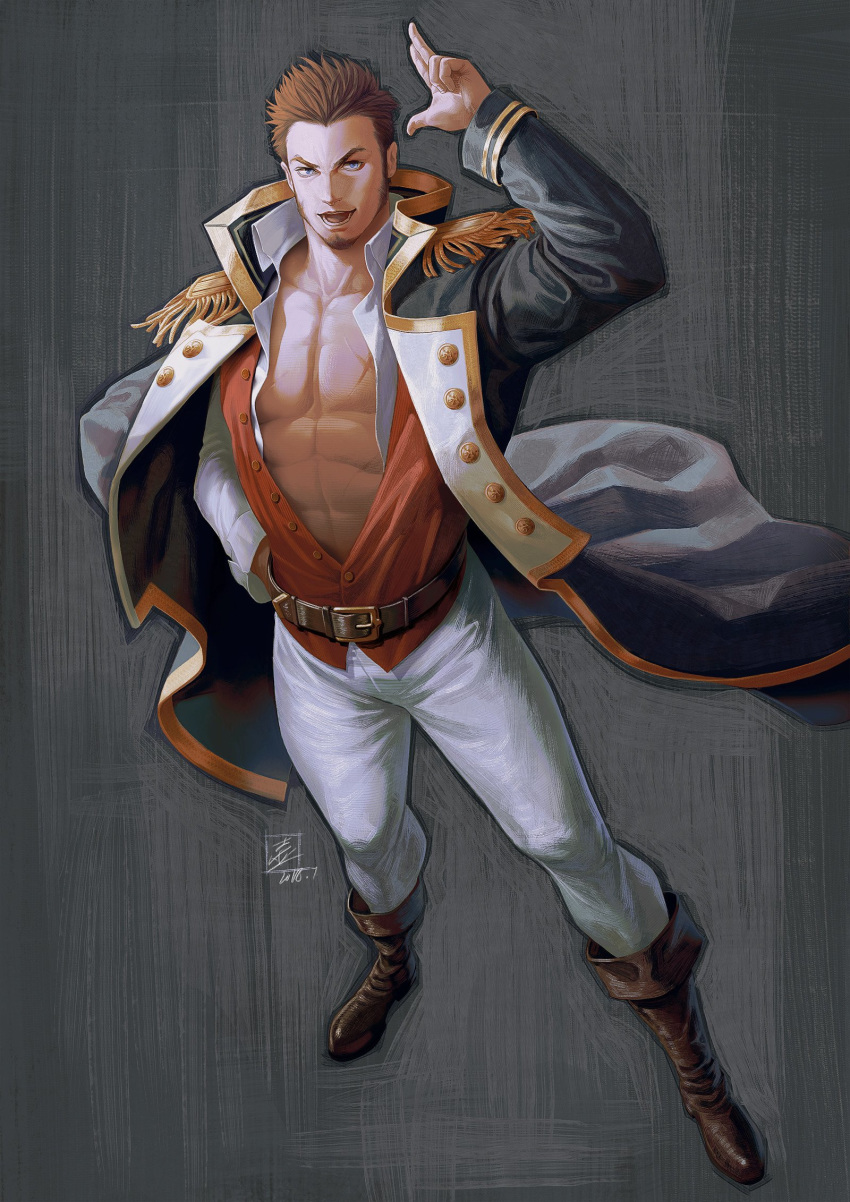 1boy abs beard belt bihu_(smallpot88) blue_eyes boots brown_hair chest epaulettes facial_hair fate/grand_order fate_(series) full_body highres long_sleeves looking_at_viewer male_focus military military_uniform muscle napoleon_bonaparte_(fate/grand_order) open_clothes pants pectorals scar simple_background smile solo uniform