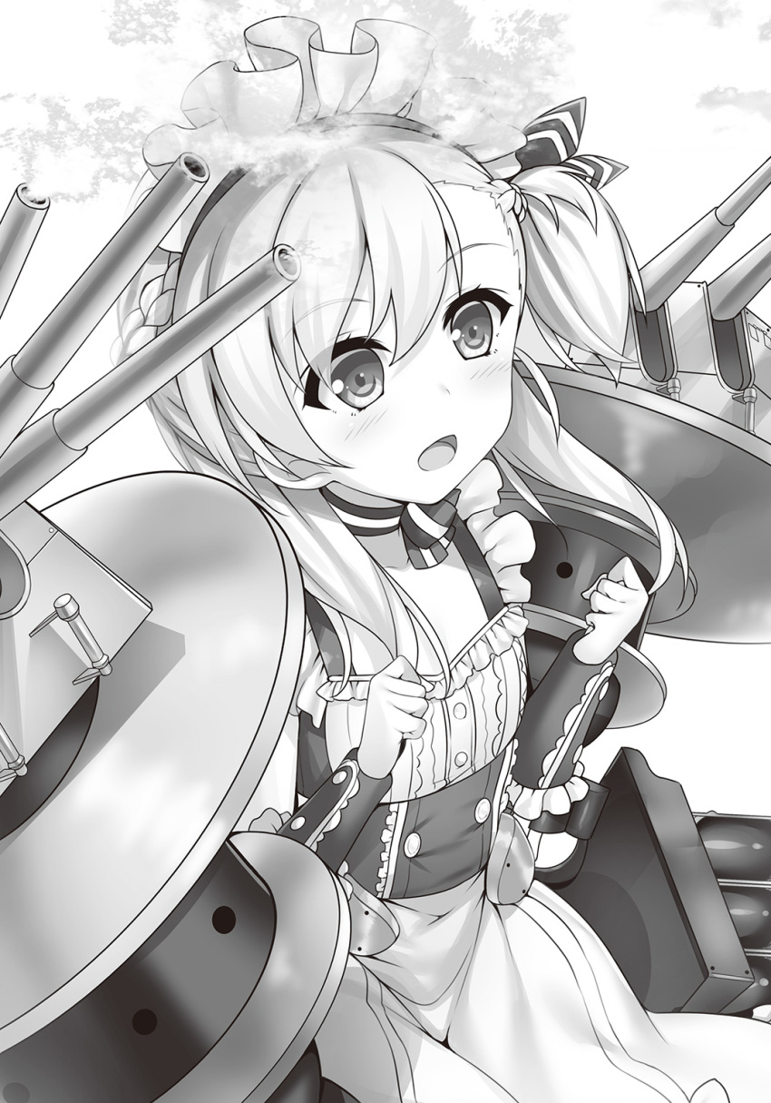 1girl apron azur_lane belchan_(azur_lane) belfast_(azur_lane) braid cannon choker clenched_hands detached_sleeves dress excited eyebrows_visible_through_hair firing frilled_dress frilled_sleeves frills gun highres long_hair maid maid_apron maid_dress maid_headdress monochrome neckwear open_mouth ponytail raiou rigging side_ponytail sleeveless sleeveless_dress smoke smoking_gun tagme weapon