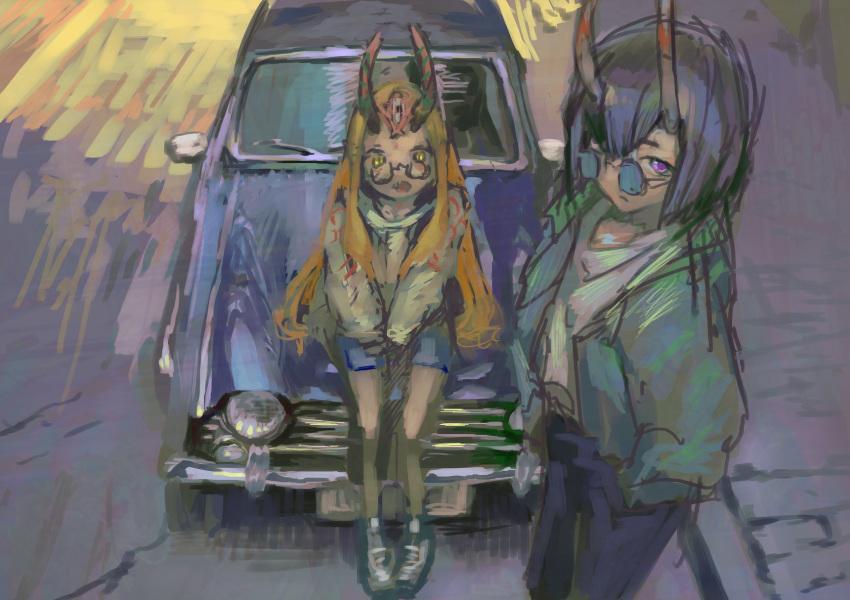 2girls black_hair blonde_hair car fate/grand_order fate_(series) feet_out_of_frame glasses ground_vehicle highres horns ibaraki_douji_(fate/grand_order) long_hair looking_at_viewer motor_vehicle multiple_girls on_vehicle oni oni_horns open_mouth panko_(drive_co) short_hair shorts shuten_douji_(fate/grand_order) sitting sketch sunglasses violet_eyes yellow_eyes