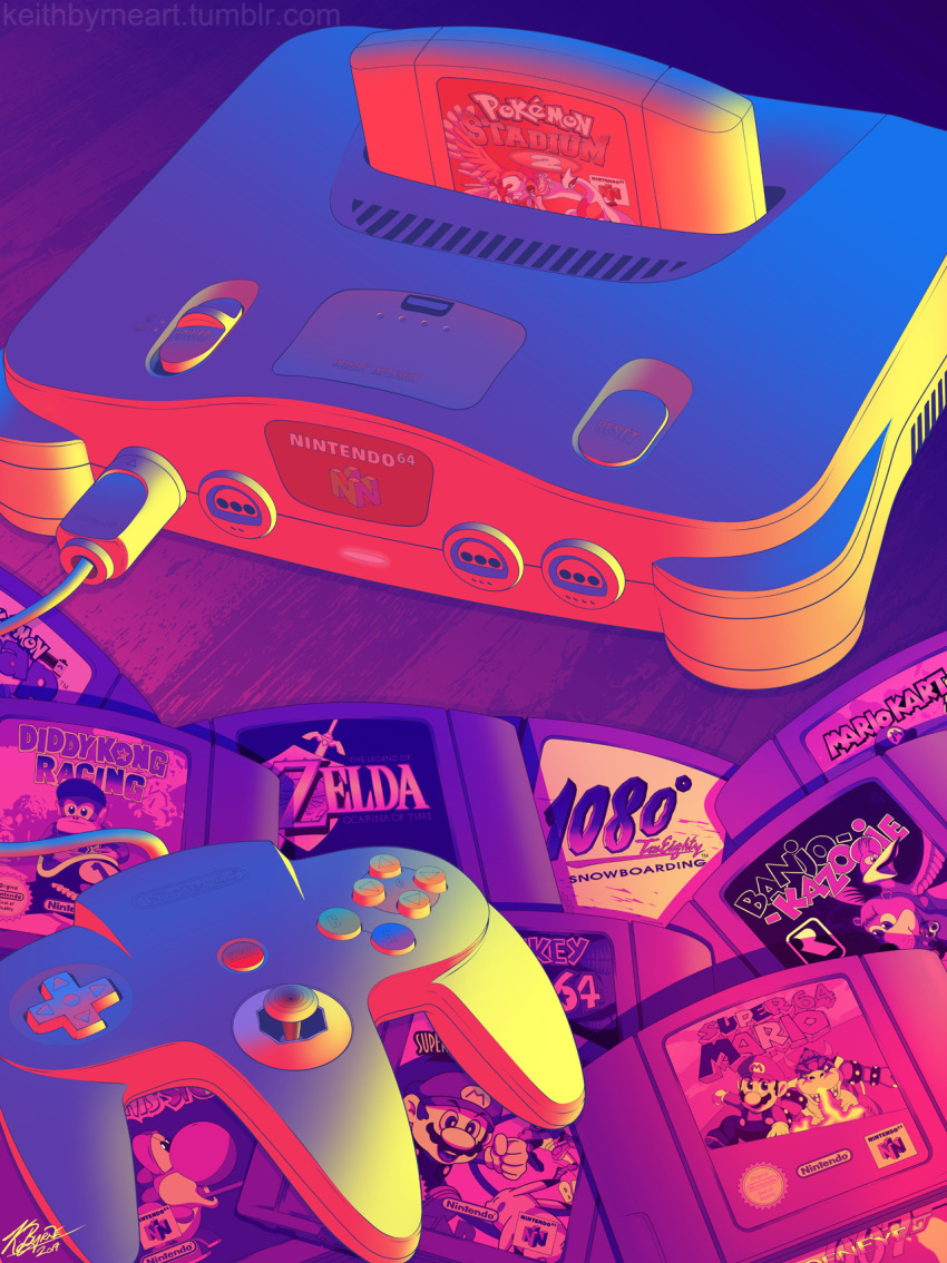 00s 1080_snowboarding 1990s 2000s 90s :d banjo-kazooie banjo_(banjo-kazooie) banjo_to_kazooie_no_daibouken bird bowser cable commentary controller creature creatures_(company) diddy_kong diddy_kong_racing donkey_kong donkey_kong_(series) donkey_kong_64 english_commentary eye_contact facial_hair game_cartridge game_console game_controller game_freak gen_1_pokemon gen_2_pokemon goldeneye_007 hal_laboratory_inc. highres ho-oh kazooie_(banjo-kazooie) keith_byrne legendary_pokemon logo looking_at_another lugia mario mario_kart mustache nintendo nintendo_64 nintendo_ead no_humans nst olm_digital open_mouth pikachu pokemon pokemon_(creature) pokemon_snap pokemon_stadium rareware retro smile still_life super_smash_bros. sword the_legend_of_zelda the_legend_of_zelda:_ocarina_of_time tumblr_username watermark weapon web_address yoshi yoshi's_story