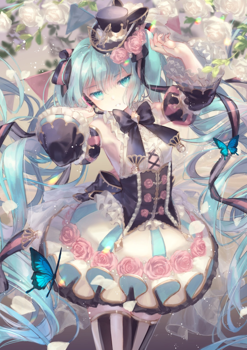 1girl animal arm_up bangs bare_shoulders black_headwear black_sleeves blue_eyes blue_hair bug butterfly commentary detached_sleeves eyebrows_visible_through_hair flower frilled_skirt frills hair_between_eyes hand_up hat hatsune_miku headset highres insect long_hair long_sleeves looking_at_viewer mini_hat mini_top_hat parted_lips pink_flower pink_rose puffy_short_sleeves puffy_sleeves rose shirt short_over_long_sleeves short_sleeves skirt sleeveless sleeveless_shirt solo striped striped_legwear thigh-highs tilted_headwear top_hat twintails vertical-striped_legwear vertical_stripes very_long_hair vocaloid white_flower white_rose white_shirt white_skirt wide_sleeves yumeichigo_alice
