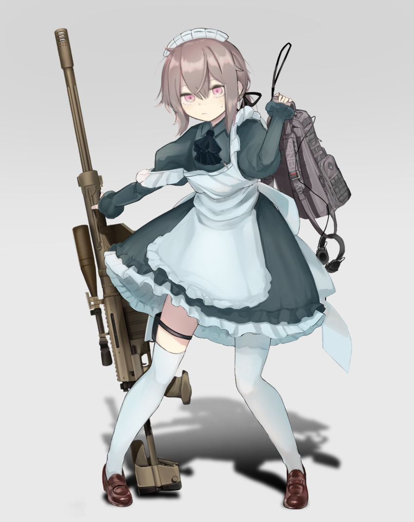 1girl alternate_costume anti-materiel_rifle apron backpack bag bangs blue_dress blue_neckwear bolt_action brown_hair cheytac_m200 collared_dress commentary_request dress enmaided frilled_apron frilled_skirt frills full_body girls_frontline gradient gradient_background gun hair_ribbon headset highres holding holding_gun holding_weapon holster m200_(girls_frontline) maid maid_headdress mary_janes no_gloves off_shoulder oxyuno0718 pink_eyes ribbon rifle scope shadow shoes sidelocks skirt sniper_rifle solo sweatdrop thigh-highs thigh_holster weapon white_legwear
