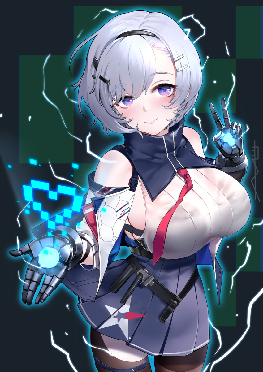 1girl asymmetrical_legwear azur_lane bangs bare_shoulders black_hairband blue_collar blue_skirt breasts closed_mouth collar cowboy_shot detached_collar detached_sleeves eyebrows_visible_through_hair hair_between_eyes hair_ornament hairband hairclip highres large_breasts metal_gloves miniskirt multiple_straps outstretched_hand pantyhose parted_hair pink_lips pleated_skirt red_neckwear reno_(azur_lane) shirt short_hair silver_hair skirt sleeveless sleeveless_shirt smile strap thigh-highs thigh_strap underbust v violet_eyes yi_dianxia