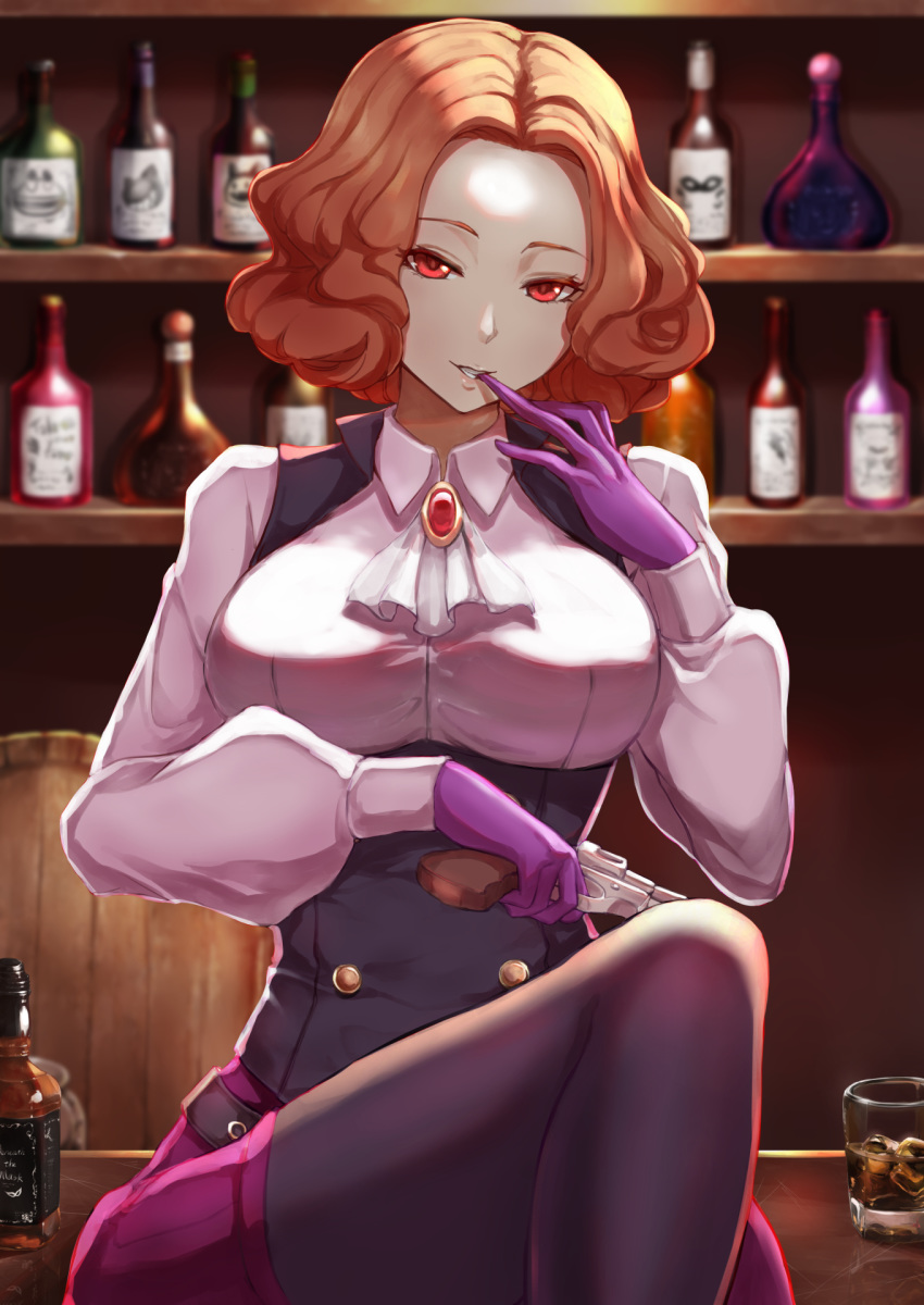 1girl alcohol bar belt biting bottle brown_hair come_hither commentary_request cravat cup drinking_glass glove_biting gloves gun handgun highres ice jack_daniel's jojobirdz long_sleeves okumura_haru pantyhose persona persona_5 purple_gloves purple_legwear red_eyes removing_glove revolver solo underbust vest weapon