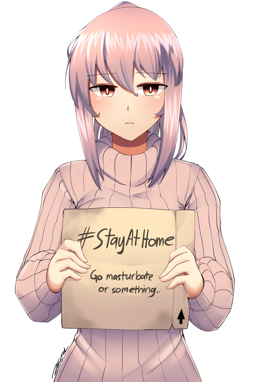 1girl absurdres box bright_pupils cardboard_box closed_mouth dated directional_arrow grey_sweater hashtag highres holding looking_at_viewer nas_(z666ful) original pink_hair ponytail red_eyes ribbed_sweater signature simple_background solo stay_at_home sweater white_background