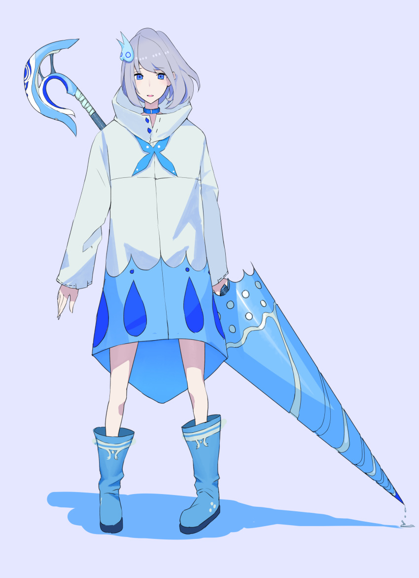 1girl absurdres blue_choker blue_eyes blue_footwear boots choker dripping eyebrows_visible_through_hair full_body grey_hair highres holding holding_lance lance lavender_background long_sleeves looking_at_viewer original panko_(drive_co) polearm shadow short_hair simple_background solo standing weapon