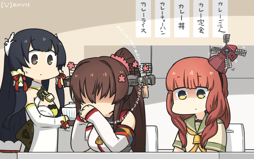 3girls bangs beige_shirt black_hair blunt_bangs braid bridal_gauntlets brown_hair cherry_blossoms commentary_request curly_hair de_ruyter_(kantai_collection) detached_sleeves dining_room dress faceless faceless_female flower food gendou_pose green_dress green_eyes green_sailor_collar grey_eyes hair_flower hair_ornament hair_ribbon hair_tubes hamu_koutarou hands_clasped headgear highres indoors jewelry kantai_collection kitchen long_hair looking_at_another looking_down low-tied_long_hair mizuho_(kantai_collection) multiple_girls orange_neckwear own_hands_together ponytail redhead ribbon ring sailor_collar sailor_shirt shaded_face shirt side_braid sidelocks sitting standing translation_request tray very_long_hair wedding_band wide_sleeves yamato_(kantai_collection)