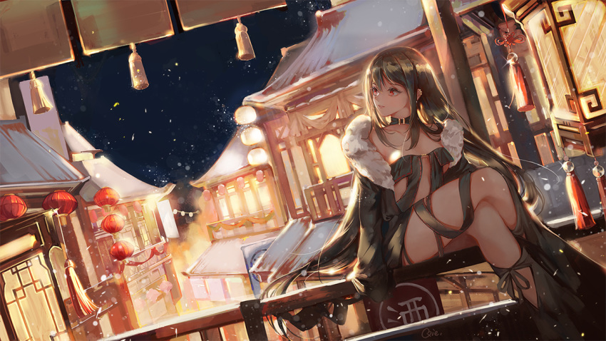 1girl architecture bangs black_choker black_dress black_hair chinese_commentary choker commentary_request consort_yu_(fate) crossed_legs dress east_asian_architecture evening fate/grand_order fate_(series) lantern long_hair looking_to_the_side night night_sky paper_lantern qie_(25832912) railing red_eyes sidelocks sitting sky snowing solo