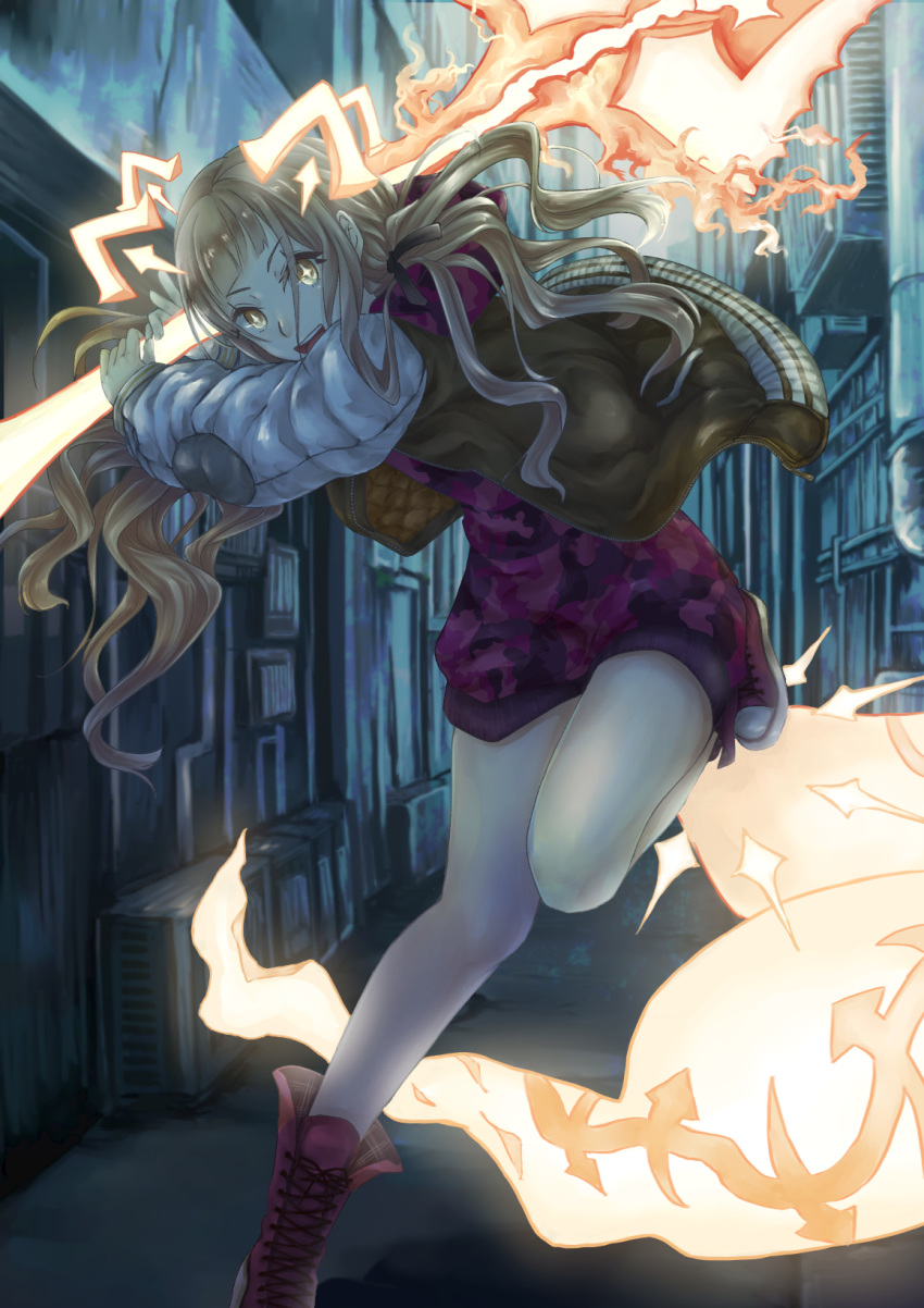 +_+ 1girl alley animal_ears bangs bare_legs blonde_hair blunt_bangs building converse cross-laced_footwear dress fighting_stance fire fox_ears fox_tail glowing glowing_eyes glowing_tail glowing_weapon hair_ribbon highres holding holding_weapon jacket laces leg_up little_red_riding_hood_(sinoalice) long_hair long_sleeves looking_at_viewer mitsubaseri open_clothes open_jacket open_mouth orange_eyes puffy_sleeves red_footwear ribbon road running shoes short_dress shovel sidelocks sinoalice sneakers solo standing standing_on_one_leg street tail tools wavy_hair weapon