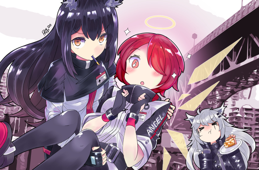 >_< 3girls :o :t animal_ear_fluff animal_ears apple_pie arknights bangs belt black_belt black_capelet black_gloves black_hair black_jacket black_legwear blush brown_eyes capelet carrying closed_eyes commentary english_commentary exusiai_(arknights) eyebrows_visible_through_hair feet_out_of_frame fingerless_gloves food fork gloves hair_ornament hair_over_one_eye hairclip halo hands_up high_collar holding holding_fork holding_plate id_card jacket lappland_(arknights) long_hair long_sleeves looking_at_viewer mouth_hold multiple_girls open_mouth outdoors pantyhose phibonnachee pie pink_eyes plate pocky princess_carry raglan_sleeves redhead scar scar_across_eye shoes short_hair short_sleeves sidelocks silver_hair sparkle tears texas_(arknights) upper_body white_jacket wolf_ears
