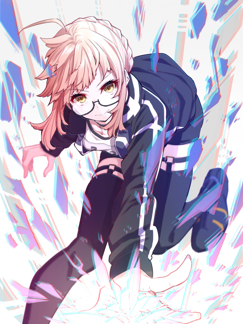 1girl ahoge artoria_pendragon_(all) bangs black_legwear blonde_hair braid commentary_request fate/grand_order fate_(series) glasses highres looking_at_viewer mikan_(chipstar182) mysterious_heroine_x_(alter) scarf semi-rimless_eyewear short_shorts shorts smile solo thigh-highs yellow_eyes