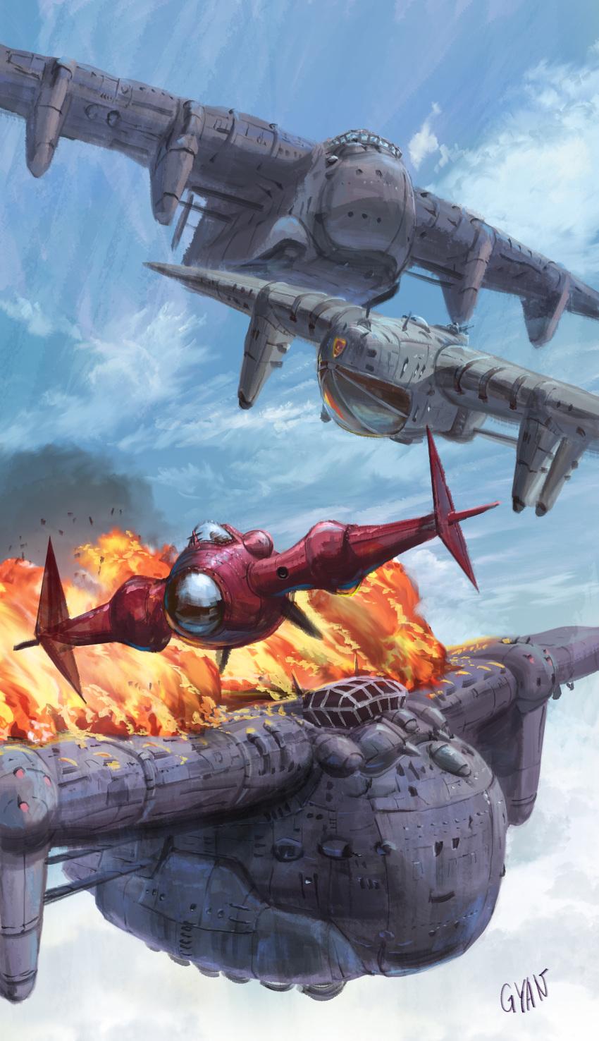 aerial_battle aircraft airplane asbel_(nausicaa) battle clouds dogfight fire flying gyan_(akenosuisei) highres kaze_no_tani_no_nausicaa military signature sky studio_ghibli war
