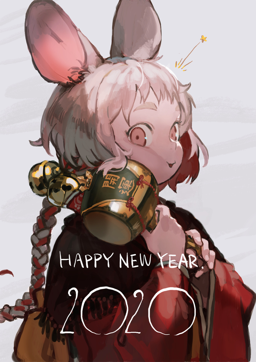 1girl 2020 animal_ears bangs bell braid burari chinese_zodiac grey_background happy_new_year highres holding holding_mallet mouse_ears multicolored_hair new_year original ponytail red_eyes redhead solo star upper_body white_hair year_of_the_rat