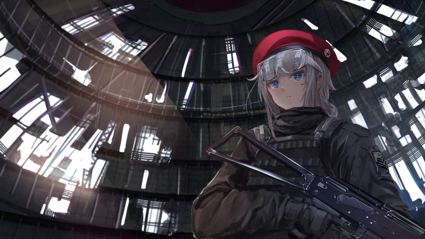 1girl :3 absurdres beret blue_eyes bulletproof_vest commentary_request dome from_below girls_frontline gloves gun hat highres long_hair nighttsound ots-12 ots-12_(girls_frontline) rifle ruins safety_glasses silver_hair solo star symbol-shaped_pupils tactical_clothes weapon