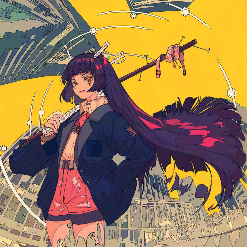 1girl absurdres building collared_shirt cowboy_shot flat_color floating_hair hand_in_pocket hexagon highres hime_cut holding kogecha_(coge_ch) ligne_claire long_sleeves nail original outdoors pink_shorts shirt shirt_tucked_in shorts symbol-shaped_pupils yellow_sky