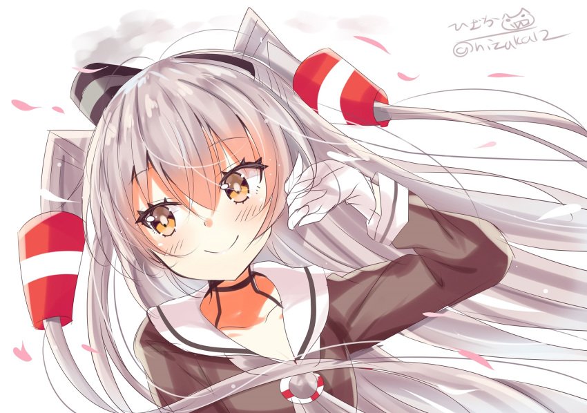 1girl amatsukaze_(kantai_collection) blush brown_dress brown_eyes dress gloves hair_ornament hair_tubes hairband highres hizaka kantai_collection long_hair looking_at_viewer sailor_dress silver_hair simple_background smile solo thigh-highs twitter_username two_side_up white_background white_gloves windsock
