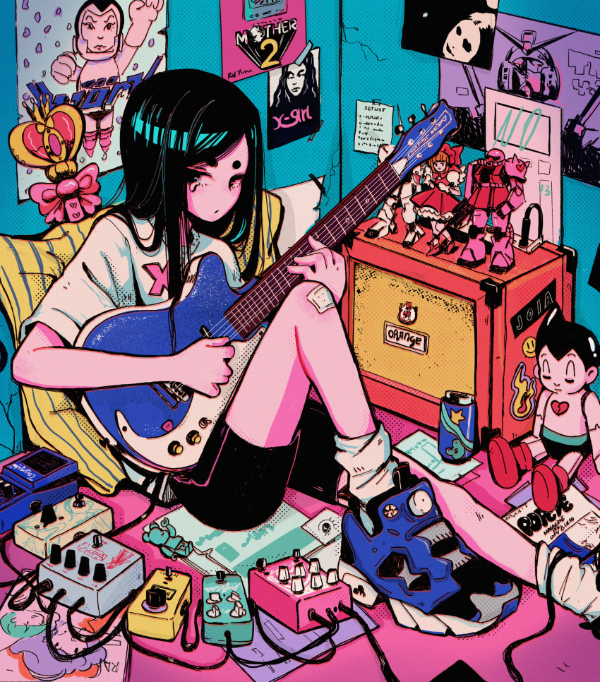 1girl absurdres amplifier atom_(tetsuwan_atom) bandaid bandaid_on_knee bike_shorts black_hair blue_footwear character_doll crisalys electric_guitar english_commentary guitar halftone highres hikimayu holding indoors instrument kinomoto_sakura knee_up long_hair looking_at_viewer music original pillow playing_instrument poster shirt shoes sitting sneakers socks solo spiral_heart_moon_rod sticker white_legwear white_shirt zaku_ii