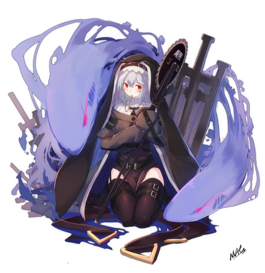 1girl arknights artist_name aura belt black_dress black_legwear breasts chainsaw circular_saw cross cross_necklace dress full_body habit hair_between_eyes highres jewelry long_hair long_sleeves looking_at_viewer mag_(mag42) medium_breasts mouth_hold necklace nun pelvic_curtain red_eyes ribbed_sweater seiza signature silver_hair simple_background sitting sleeves_past_wrists solo specter_(arknights) spirit strap sweater thigh-highs thigh_strap thighs turtleneck white_background white_sweater