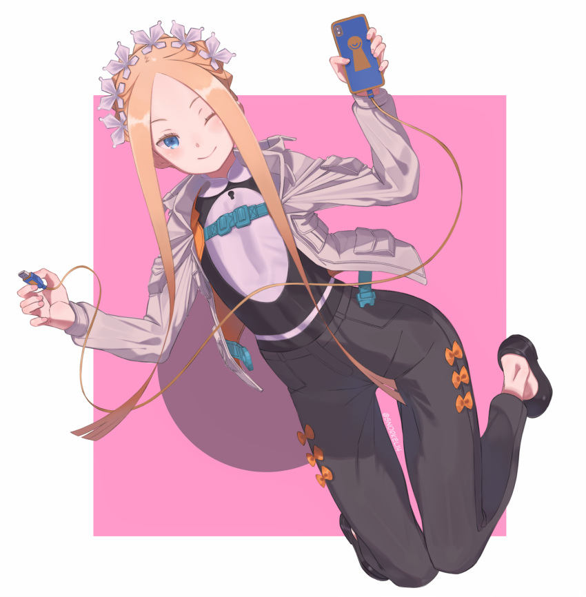 1girl abigail_williams_(fate/grand_order) adapted_costume alternate_costume bangs black_footwear black_pants blonde_hair blue_eyes border bow braid breasts cable cellphone closed_mouth fate/grand_order fate_(series) forehead french_braid full_body grey_jacket heroic_spirit_festival_outfit highres jacket keyhole long_hair long_sleeves maid_headdress multiple_bows one_eye_closed open_clothes open_jacket orange_bow pants parted_bangs phone pink_background sidelocks small_breasts smile snorkel14 solo white_border