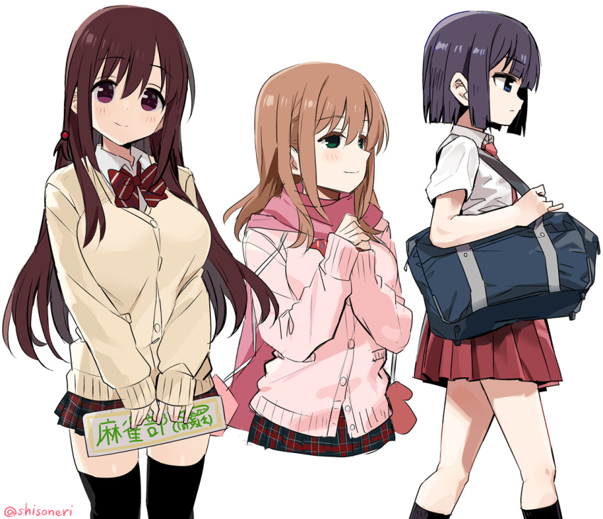 3girls achiga_school_uniform bag bangs black_hair black_legwear blue_eyes bow bowtie brown_hair cardigan carrying closed_mouth cropped_torso diagonal-striped_neckwear diagonal_stripes dress_shirt eyebrows_visible_through_hair from_side green_eyes hair_bobbles hair_ornament hands_together holding kneehighs long_hair looking_at_viewer looking_to_the_side matsumi_kuro matsumi_yuu miniskirt mittens multiple_girls necktie pink_mittens pink_neckwear pink_scarf pink_sweater plaid plaid_skirt pleated_skirt red_neckwear red_skirt sagimori_arata saki saki_achiga-hen scarf school_bag school_uniform shirt shisoneri short_hair short_sleeves siblings simple_background sisters skirt smile striped striped_neckwear sweater thigh-highs twitter_username violet_eyes white_background white_shirt wing_collar yellow_sweater