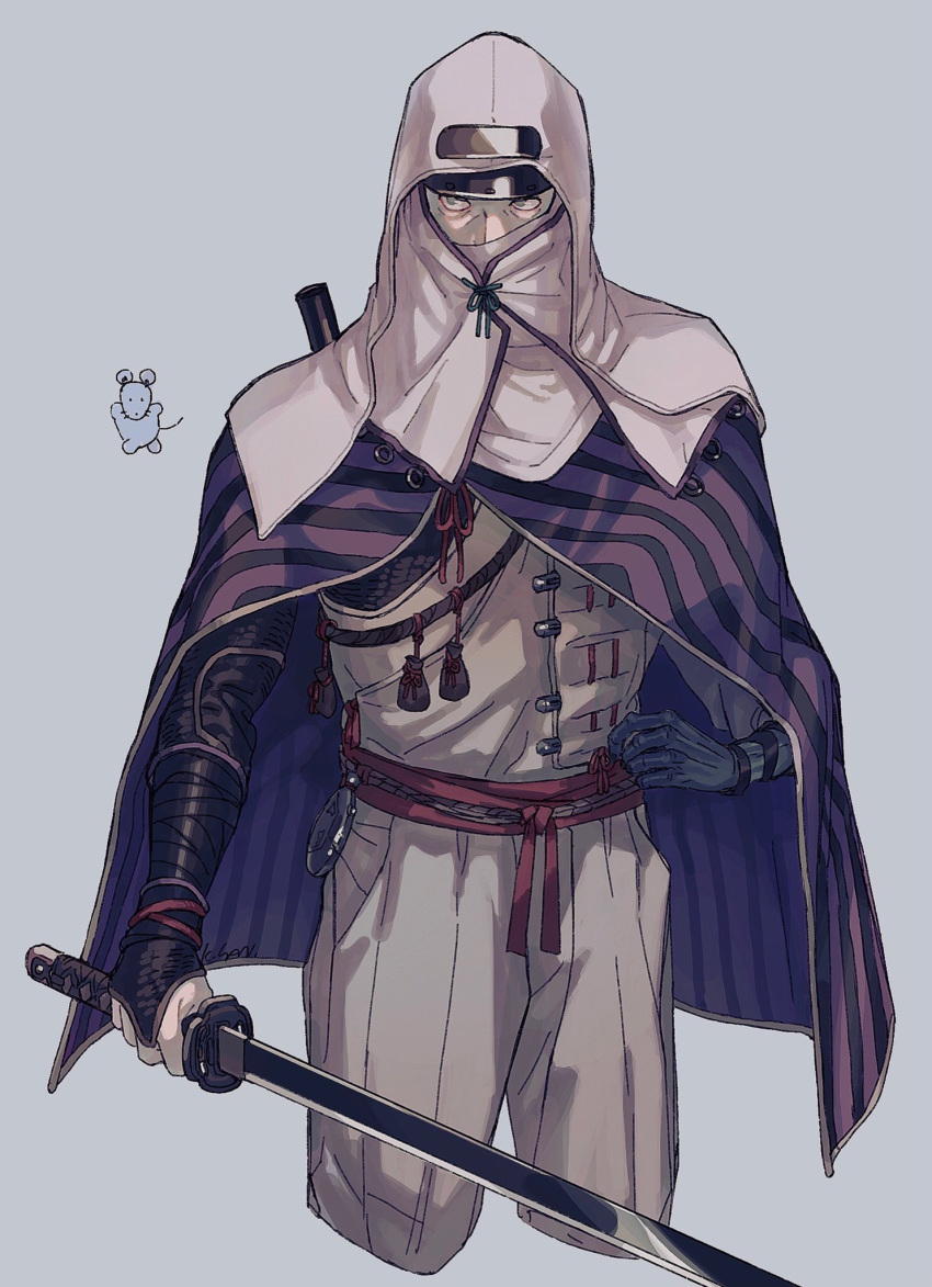 1boy animal bandages blue_eyes bracelet cloak covered_mouth grey_background highres holding holding_sword holding_weapon jewelry lfoudon lone_shadow_ninja male_focus mouse ninja pouch purple_cloak ribbon rope scabbard sekiro:_shadows_die_twice sheath simple_background sketch solo striped sword vambraces weapon