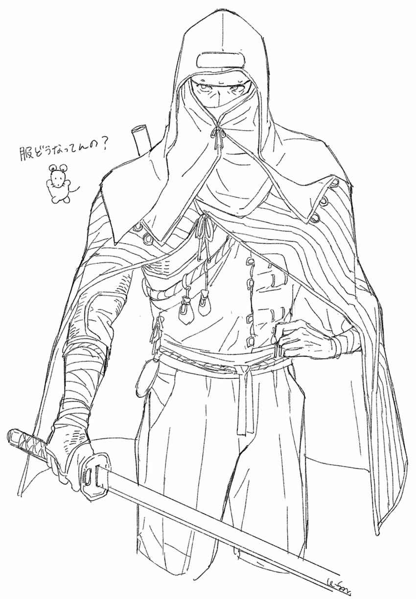 1boy animal bandages cloak covered_mouth highres holding holding_sword holding_weapon lfoudon lone_shadow_ninja male_focus mouse ninja pouch ribbon rope scabbard sekiro:_shadows_die_twice sheath signature simple_background sketch solo sword vambraces weapon white_background