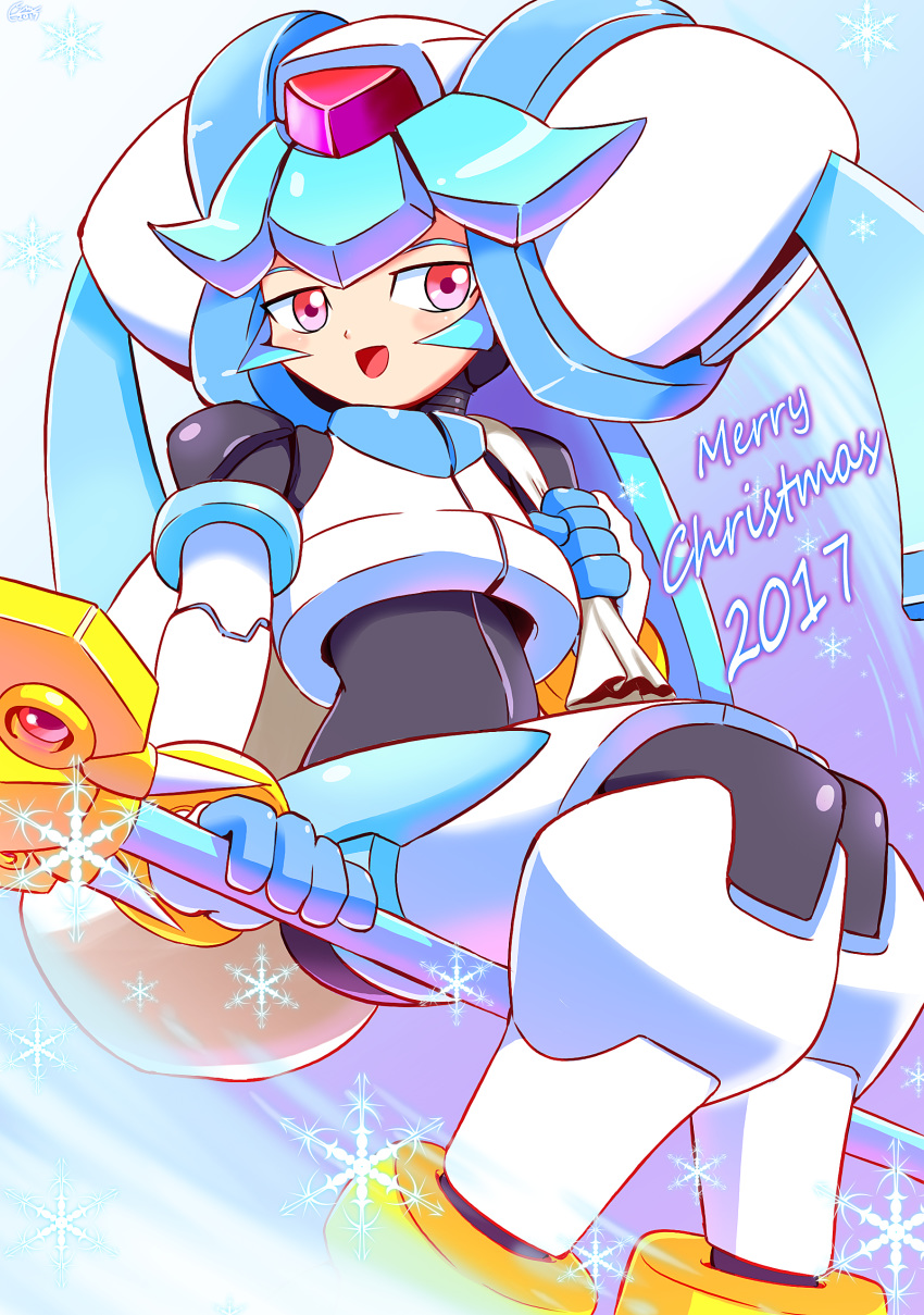 1girl absurdres android blush bodysuit commentary gloves helmet highres holding jewelry long_hair looking_at_viewer merry_christmas open_mouth pandora_(rockman) red_eyes rockman rockman_zx shoutaro_saito smile solo staff weapon