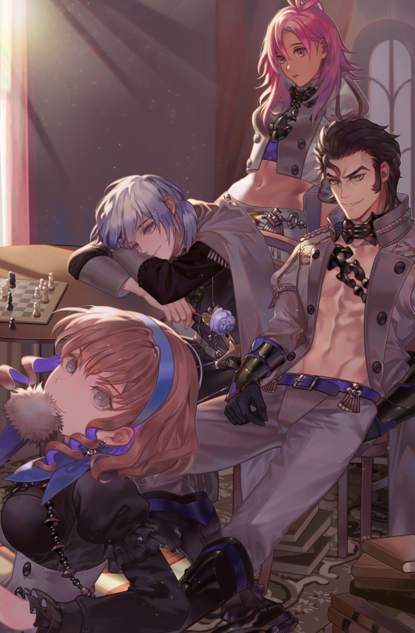 2boys 2girls abs ahoge arm_rest balthus_(fire_emblem) black_dress black_footwear black_gloves blonde_hair book book_stack boots breasts brown_hair capelet chain chair chess_piece chessboard closed_mouth commentary_request constance_von_nuvelle cropped_jacket dark_skin day double-breasted dress drill_hair earrings fan fire_emblem fire_emblem:_three_houses flower folding_fan garreg_mach_monastery_uniform gloves grey_capelet grey_eyes grey_jacket grey_pants grin hair_between_eyes hair_slicked_back hairband hapi_(fire_emblem) highres holding holding_flower indoors jacket jewelry lavender_hair light_particles light_smile lips long_hair long_sleeves looking_at_viewer medium_breasts midriff multicolored_hair multiple_boys multiple_girls navel open_clothes open_jacket orange_eyes pants peach_luo pink_eyes pink_hair puffy_long_sleeves puffy_sleeves purple_flower purple_hair purple_rose rose short_hair side_drill signature sitting smile sunlight table twin_drills two-tone_hair vambraces violet_eyes yuri_(fire_emblem)