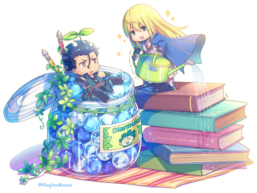 2boys :d bangs belt belt_buckle black_footwear black_gloves black_hair blonde_hair blue_cape book_stack boots breastplate brown_belt brown_eyes buckle cape character_name chibi commentary_request eyebrows_visible_through_hair fate/grand_order fate/zero fate_(series) fingerless_gloves fionn_mac_cumhaill_(fate/grand_order) gae_buidhe gae_dearg gloves green_eyes hagino_kouta hair_between_eyes highres jar knee_boots lancer_(fate/zero) long_hair male_focus marble miniboy mole mole_under_eye multiple_boys open_mouth polearm smile sparkle spear standing sweat trembling twitter_username v-shaped_eyebrows very_long_hair water watering watering_can weapon white_background