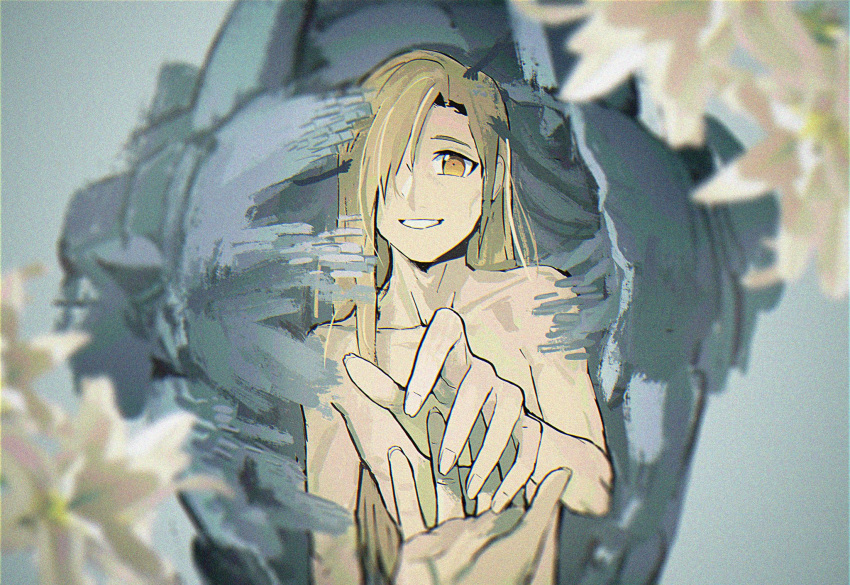 1boy alphonse_elric arm_at_side armor back-to-back blonde_hair blurry blurry_background cheekbones collarbone commentary depth_of_field dissolving doya english_commentary fingernails flower full_armor fullmetal_alchemist grey_background hair_over_one_eye hands happy highres lily_(flower) long_fingernails long_hair looking_afar male_focus nude outstretched_hand parted_lips pov pov_hands reaching_out sharp_fingernails simple_background skinny smile straight_hair white_flower yellow_eyes