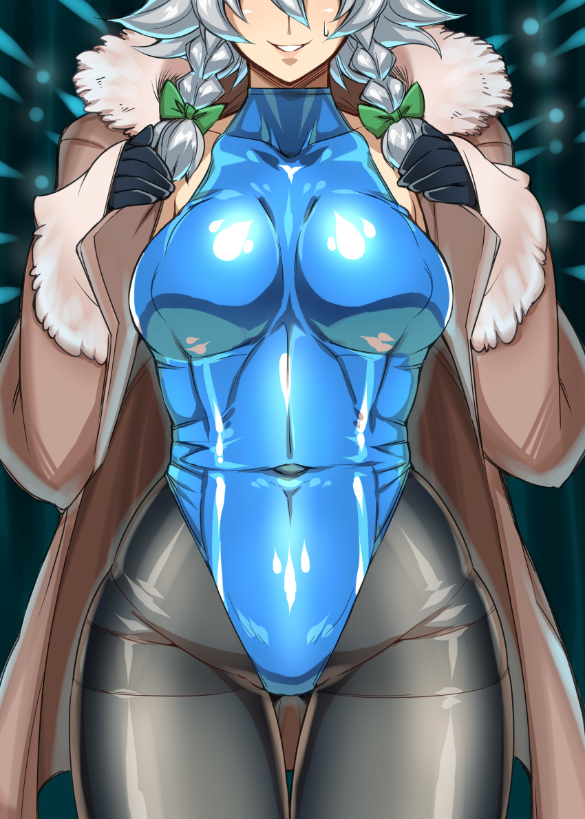 1girl absurdres blue_leotard blush braid breasts coat covered_navel covered_nipples cowboy_shot gloves hair_ribbon head_out_of_frame highres hip_focus izayoi_sakuya large_breasts leotard lips open_clothes open_coat pantyhose parted_lips ribbon shiny shiny_clothes short_hair silver_hair skin_tight smile solo standing tajima_yuuki teeth thigh_gap thighband_pantyhose touhou twin_braids