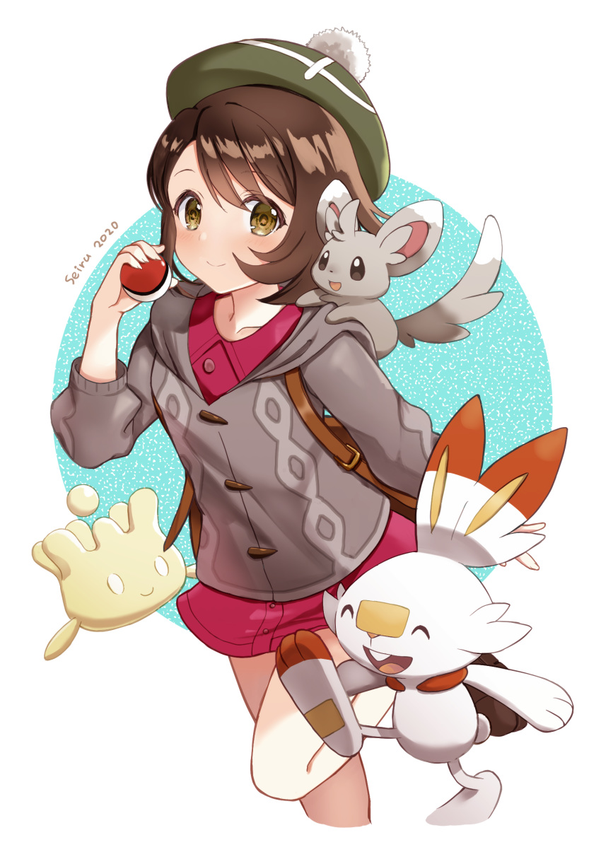 1girl 2020 animal animal_on_shoulder artist_name blue_background brown_eyes brown_hair commentary_request gen_5_pokemon gen_8_pokemon highres hijiri_ruka holding holding_poke_ball hood hood_down hooded_sweater looking_at_viewer milcery minccino poke_ball poke_ball_(generic) pokemon pokemon_(creature) pokemon_(game) pokemon_on_shoulder pokemon_swsh scorbunny short_hair smile standing standing_on_one_leg sweater tam_o'_shanter two-tone_background white_background yuuri_(pokemon)