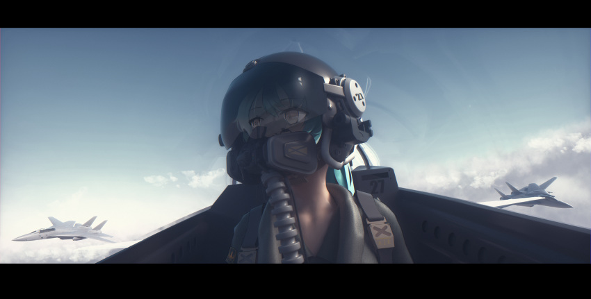 1girl absurdres aircraft airplane aqua_hair bangeningmeng bangs blue_hair clouds commentary_request covered_mouth day driving error f-14_tomcat grey_hair helmet highres huge_filesize letterboxed looking_away looking_to_the_side mask original portrait scenery solo tagme yellow_eyes