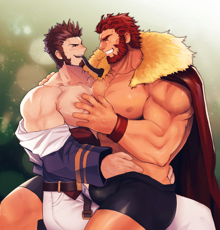 2boys abs bara beard belt blue_eyes blush brown_hair bulge cape chest commissioner_upload couple epaulettes facial_hair fate/grand_order fate_(series) grabbing hand_under_clothes highres leather legs_together long_sleeves looking_at_another male_focus multiple_boys muscle napoleon_bonaparte_(fate/grand_order) nipples open_clothes open_mouth pants partially_undressed pectorals red_eyes redhead rider_(fate/zero) scar shirtless sideburns simple_background sitting sitting_on_lap sitting_on_person smile tora_d underwear undressing_another yaoi
