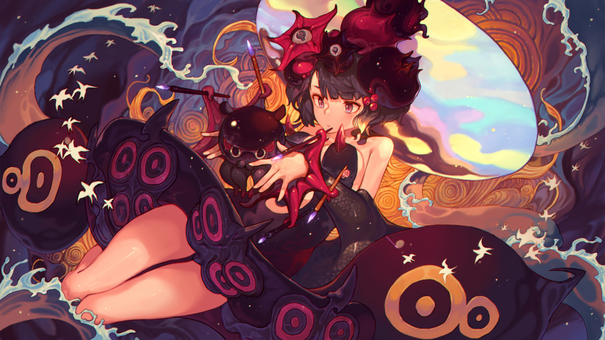 1girl asymmetrical_bangs bangs bird black_dress black_hair chinese_commentary commentary_request detached_sleeves dress fate/grand_order fate_(series) hair_ornament highres hong_da katsushika_hokusai_(fate/grand_order) looking_at_animal octopus paintbrush parted_lips plunging_neckline shikigami short_hair spikes tentacles tokitarou_(fate/grand_order) violet_eyes waves