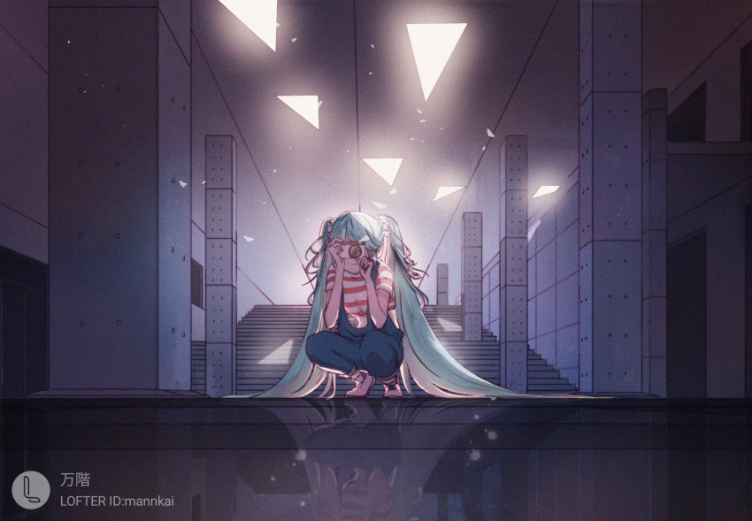 1girl aqua_hair bangs bare_arms blue_pants camera ceiling closed_mouth crop_top crop_top_overhang facing_viewer flower hair_flower hair_ornament hatsune_miku highres holding holding_camera light_particles long_hair mannkai midriff pants pillar reflective_floor shirt shoes short_sleeves smile solo squatting stairs striped striped_shirt taking_picture triangle twintails very_long_hair vocaloid white_footwear