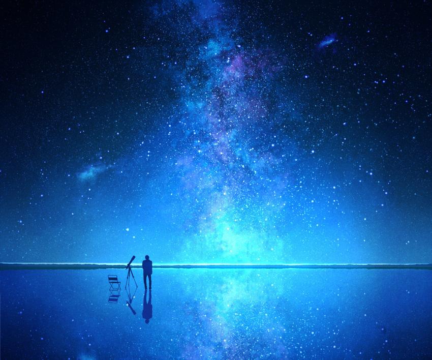 1boy blue_theme chair folding_chair galaxy highres horizon lake milky_way mks night night_sky original outdoors reflection reflective_floor scenery sky solo standing standing_on_liquid star_(sky) starry_sky telescope