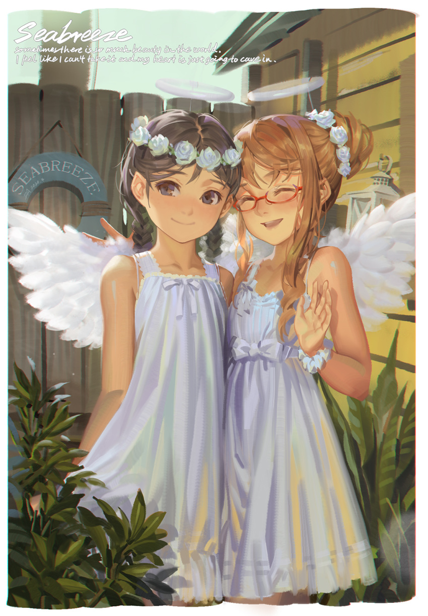 2girls :d ^_^ alphonse_(white_datura) angel_wings arms_behind_back bangs bare_arms bare_shoulders black_eyes black_hair blush braid brown_hair building closed_eyes commentary dress english_commentary english_text facing_viewer feathered_wings feet_out_of_frame fence flower flower_wreath glasses hair_bun hair_flower hair_ornament head_wreath highres lantern lifebuoy looking_at_viewer multiple_girls open_mouth original parted_bangs plant red-framed_eyewear rose scrunchie semi-rimless_eyewear sidelocks sleeveless sleeveless_dress smile standing sundress twin_braids under-rim_eyewear waving white_flower white_rose white_wings wings wooden_fence wrist_scrunchie